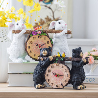 8 Inch Decorative Cute Two White Rabbits Holding a Birch Log Clock, Black Bear with a Wood clock, Animal Clock, Resin, Gift