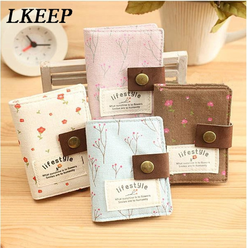 Business Card Wallet Women 20 Slot Floral Credit Card Holder ID Bank Card Holder Purse For Cards Canvas Women's Cardholders Bag