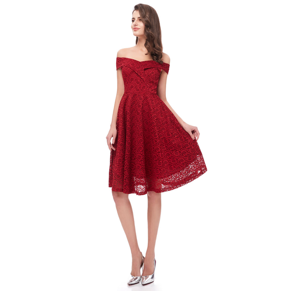 Beauty Emily Lace Wine Red   Bridesmaid     Dresses   2019 Short for Women A-Line Half Sleeve Wedding Party Prom   Dresses