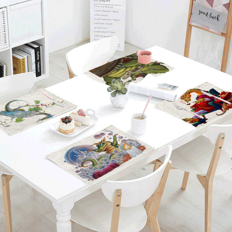 western kitchen table corner nook detail feedback questions about 32 42cm cute animal print 42x32cm cuteness dinosaur printed napkins for wedding placemats colored bubble skirts decoration tablecloths