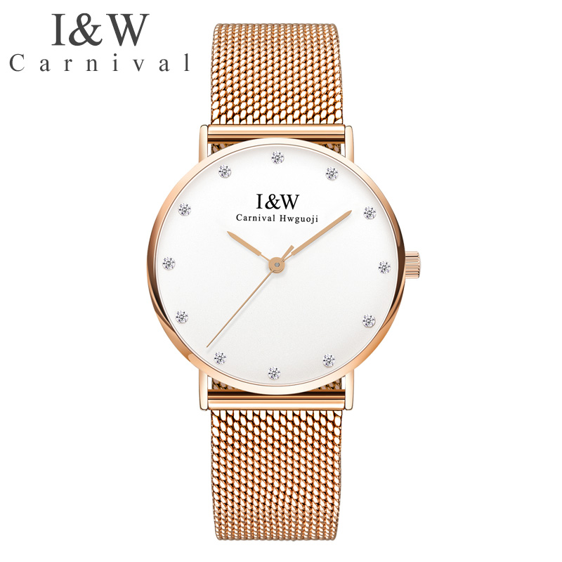 Carnival Ultra-Thin Women Watches I&W Golden Diamond Stainless Steel Quartz Watch Ladies Waterproof Top Brand Luxury reloj mujer nary watch women fashion luxury watch reloj mujer stainless steel quality diamond ladies quartz watch women rhinestone watches