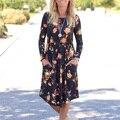 Mulheres meninas moda confortável vestido de verão floral impresso o pescoço bolso crewneck casual sexy mini dress s/m/l/xl