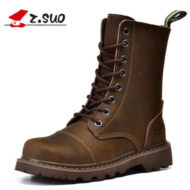 Z.SUO Brand 6818 Classic Women s Motorcycle Boots British Mid-Calf Hand  Stitching Crazy Horse Leather Girls Martin Boots 5df9c39d14