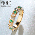 Free shipping 0.32ct 14kt White and Yellow Gold Natural Emerald Diamond Engagement Ring Jewelry