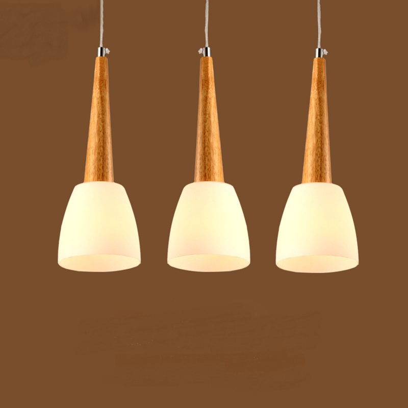 Simple wooden pendant lights living room dining bar personality creative fashion white glass lampshade pendant lamps MZ11 american country glass pendant lamps personality creative restaurant dining room creative art color glass pendant lights zh