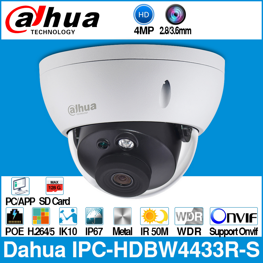 Dahua IPC-HDBW4433R-S 4MP IP Camera Replace IPC-HDBW4431R-S With POE SD Card Slot IK10 IP67 Onvif Starnight Smart Detection