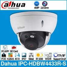 Dahua cámara IP de 4MP IPC HDBW4433R S, IPC HDBW4431R S de repuesto con ranura para tarjeta SD POE IK10 IP67 Onvif, detección inteligente Starnight