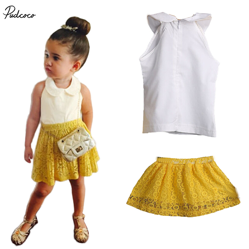 2017 Summer Lace cotton Clothes Baby Girls Sleeveless T