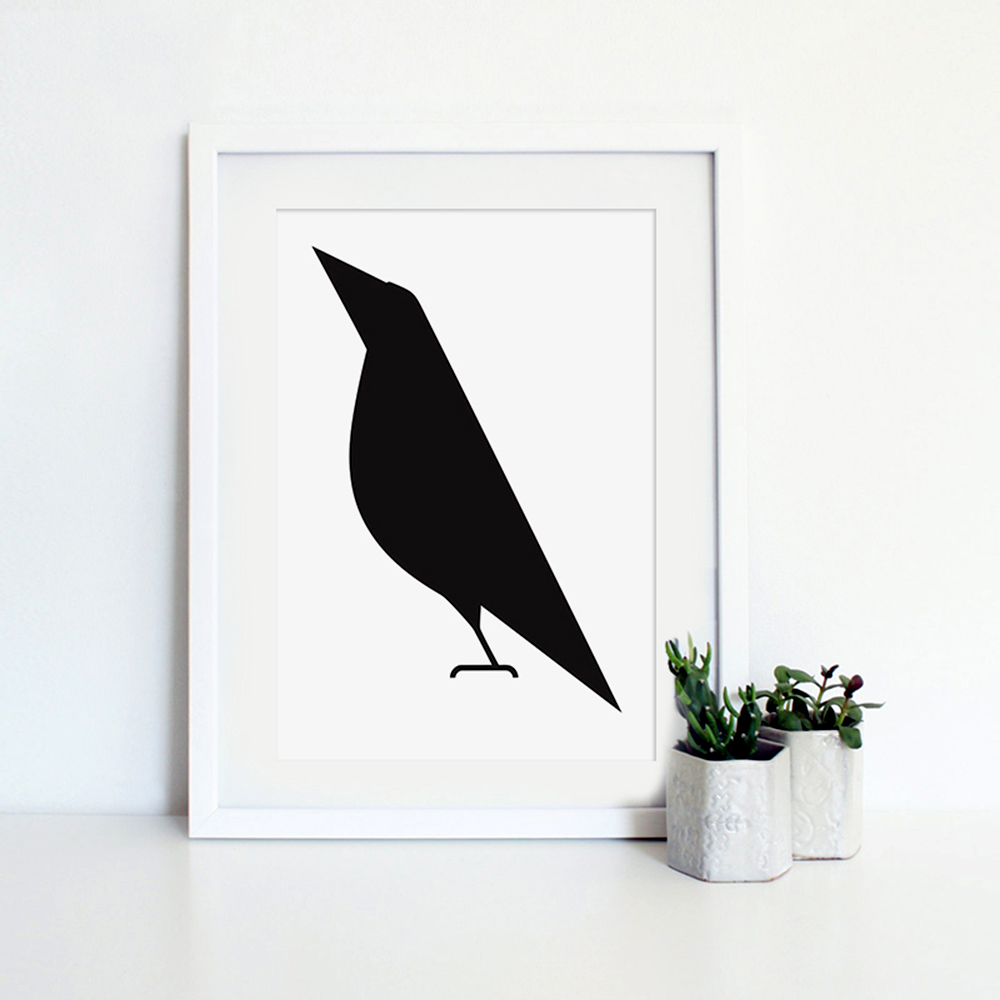 Modern Minimalist Black White Abstract Bird Big Poster Print Animal Hipster Canvas Painting No Frame Home Wall Art Decor Gift