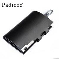 Padieoe 2017 Split Cow Leather Key Chain Holder Solid Black Housekeeper For Keys High Quality Key