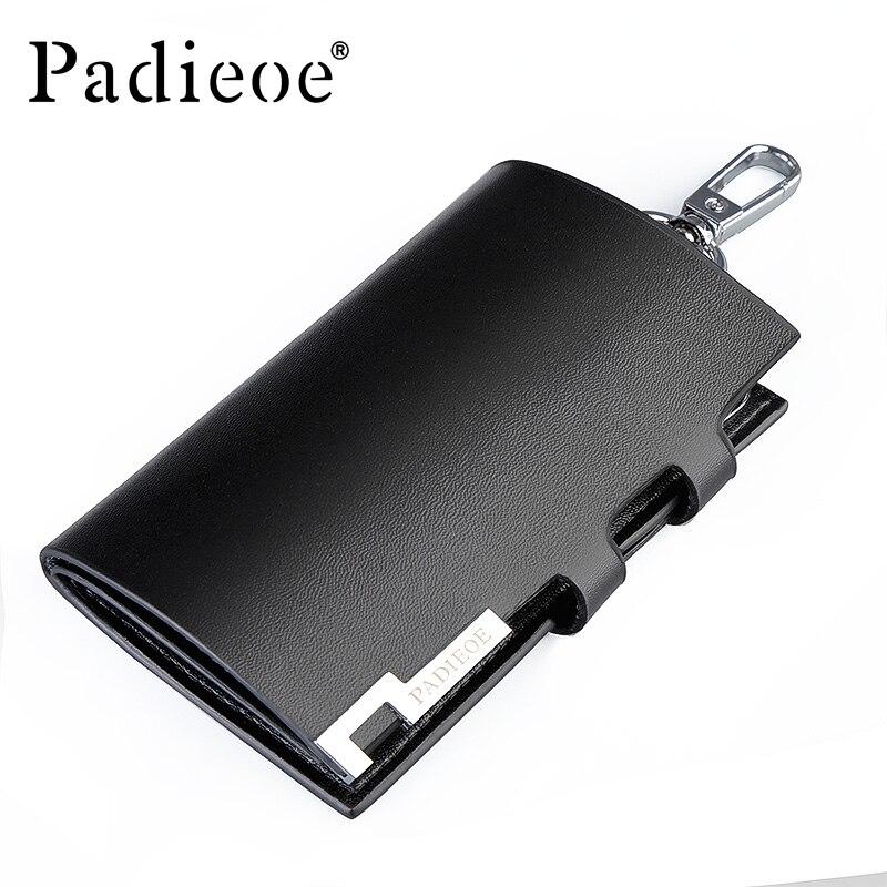 Padieoe 2017 men Split Cow Leather Key Holder Solid Black Housekeeper For Keys High Quality Key Case Unisex