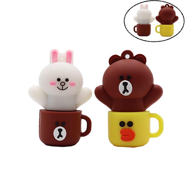 Flash drive cartoon bear cup pen 4GB 8GB 16GB 32GB 64GB Kenny Rabbit memory stick creative gift pendrive cle usb