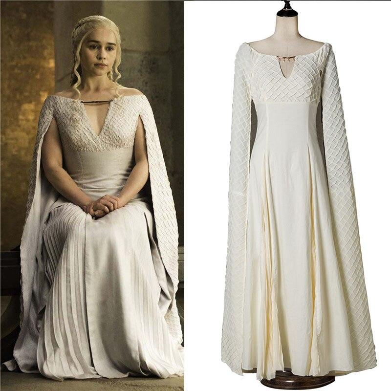 Game Of Thrones Daenerys Targaryen Qarth Dress Costume Cosplay Costume White Chiffon Halloween Dress