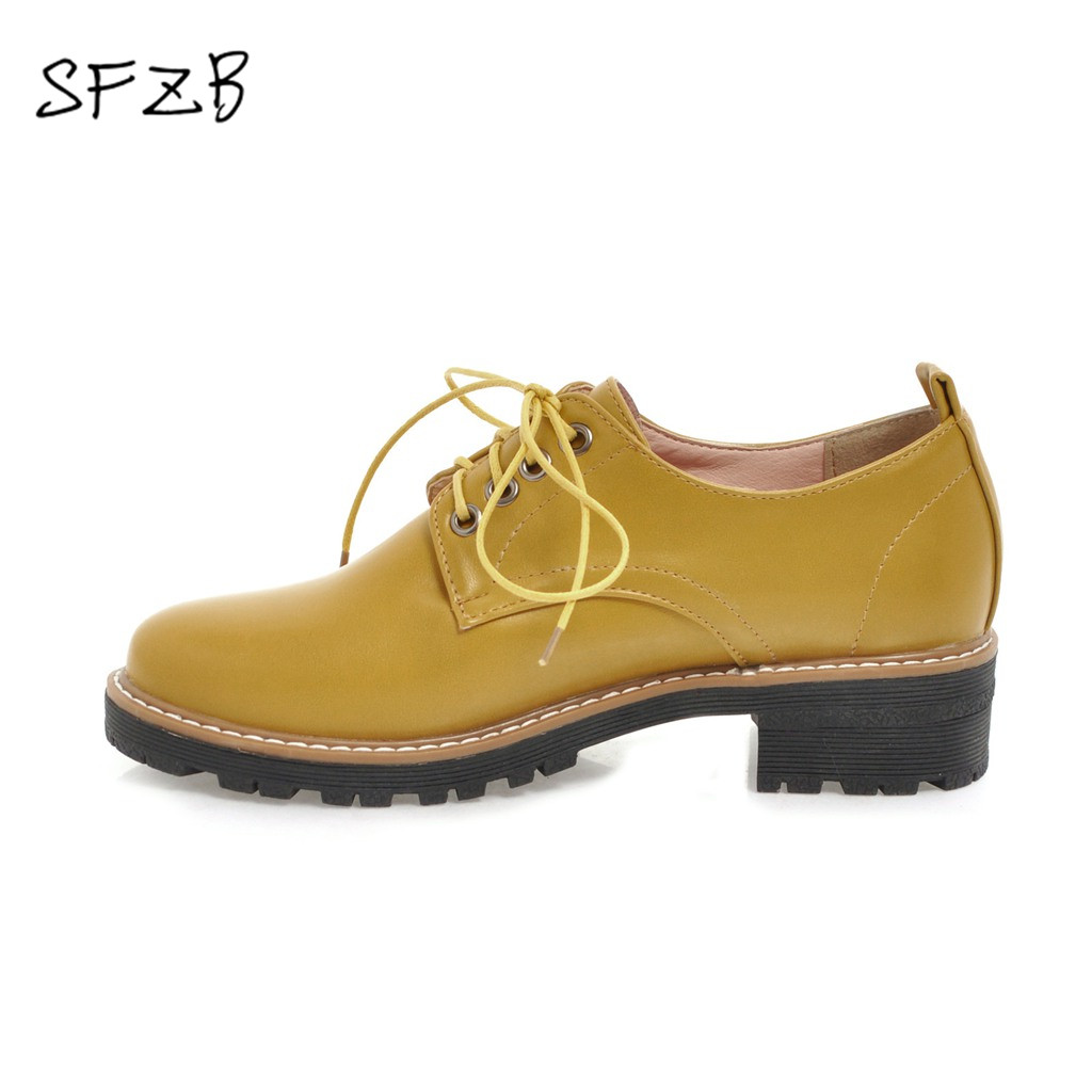SFZB black yellow fashion spring autumn ladies single shoes round toe square heel women pu leather med heels shoes memunia spring autumn fashion lace up ladies shoes med heels square toe high quality patent leather black casual shoes