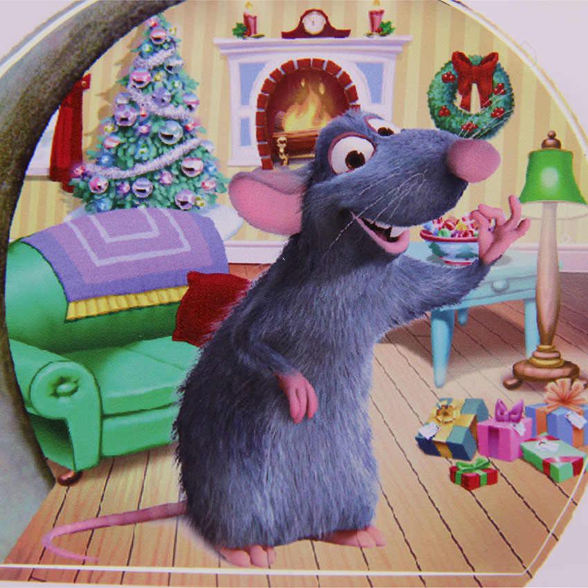 Funny Christmas Mouse Hole สติ๊กเกอร์ติดผนังการ์ตูน 3D Decals ผนังไวนิลคริสต์มาสตกแต่งบ้านสำหรับห้องพักเด็ก 1PC