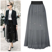 Mid Calf Elastic Waist Long Elegant Women Beading Pearl Skirt Pleated Fashion Mesh Party Vestido Lady Dance Robe Oversized Skirt
