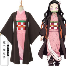 New Anime Demon Slayer: Kimetsu no Yaiba Kamado Nezuko Cosplay Costume Women Girls Dress Japanese Pink kimono Clothes Costume(China)