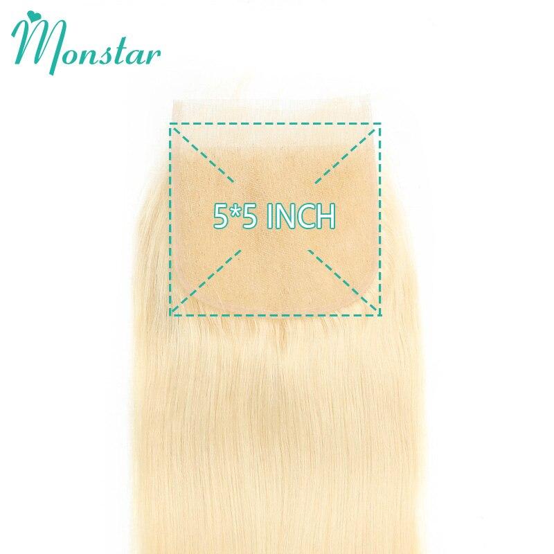 Monstar 5x5 Lace Closure Honey Blonde 613 Remy Peruvian Straight Human Hair 8 22 Inch Free