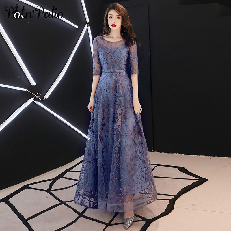 Lace Evening Dresses Long 2019 Elegant O-neck A-line Floor-Length Formal Evening Gown With Sleeves Plus Size Formal Dress
