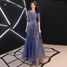 Lace Evening Dresses Long 2019 Elegant O-neck A-line Floor-L