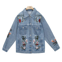 2017 Korean Fashion Streetwear Casual Jacket Hand Made Embroidery Denim Jackets Autumn Women Vintage Washed Outerwear Loose Coat
