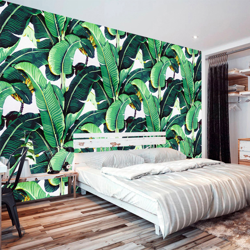 European Style Retro Tropical Rain Forest Plant Banana Leaf Photo Wallpaper Pastoral Mural Background Wall Mural Bedroom Fresco free shipping retro english hepburn postcards simple european style backdrop moisture proof bedroom bathroom wallpaper mural