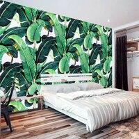 European Style Retro Tropical Rain Forest Plant Banana Leaf Photo Wallpaper Pastoral Mural Background Wall Mural