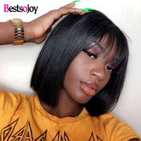 Bestsojoy 360 Lace Frontal Wig Straight Hair Bob Wig Brazilian Hair Wig Human Hair Preplucked Lace Wig For Women Virgin Hair