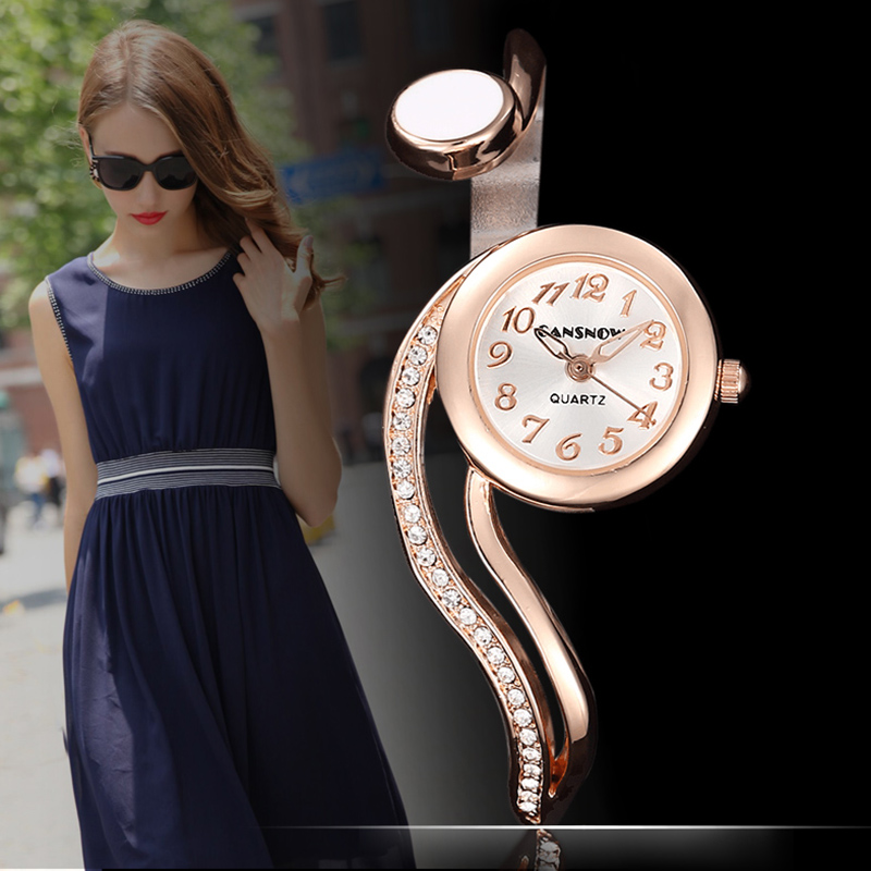 Relogio Feminino Fashion Rose Gold Women's Bangle Bracelet Watches Luxury Stainless Steel Rhinestone Ladies Jewelry Watch Clock
