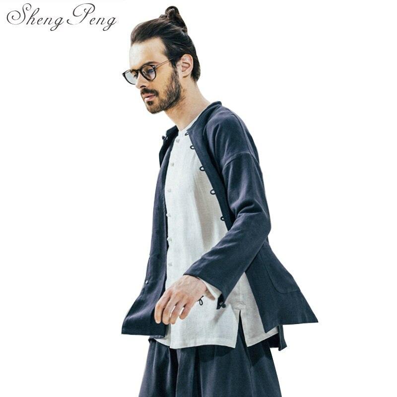 Chinês tradicional roupa de manga comprida homens roupa tradicional chinesa shanghai tang tradicional chinesa vestuário CC225 - 5