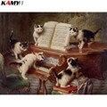 Полная квадратная/круглая дрель 5D DIY алмазная живопись кот учится играть на пианино 3D Вышивка крестом, мозаичный Декор HYY - фото