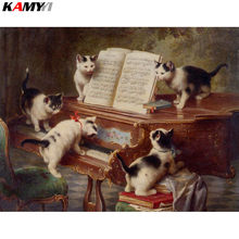Full Square/Round Drill 5D DIY Diamond Painting Cat learning to play the piano 3D Embroidery Cross Stitch Mosaic Decor HYY(China)