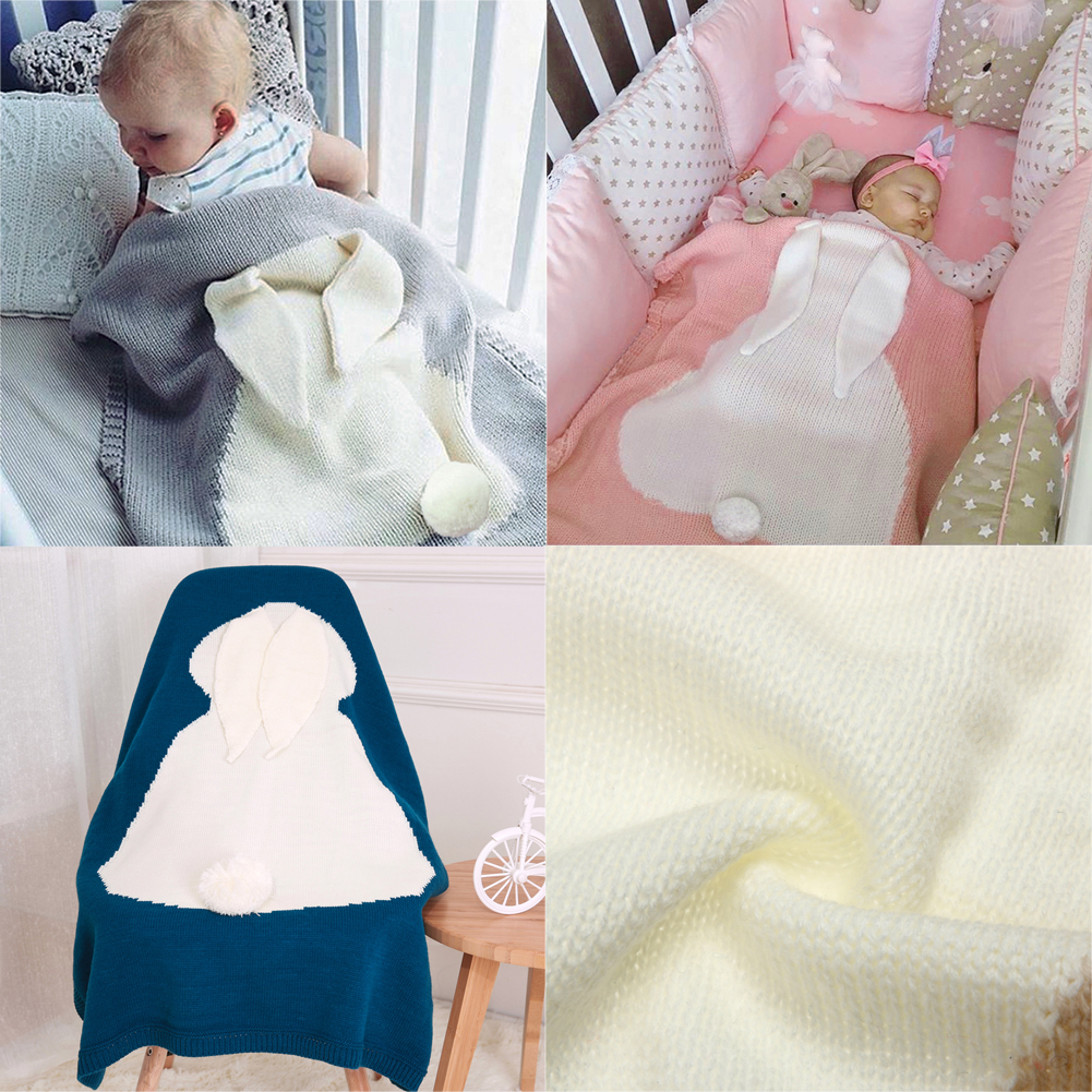 Cute Baby Blankets Toddlers Rabbit Ear Soft Warm Swaddle Wrap Newborn Woolen Knitting Blankets Kids Bathing Towel Bedding Quilt