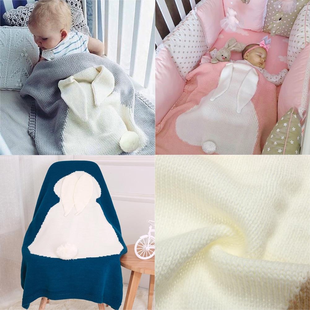 Cute Baby Blankets Toddlers Rabbit Ear Soft Warm Swaddle Wrap Newborn Woolen Knitting Blankets Kids Bathing Towel Bedding Quilt