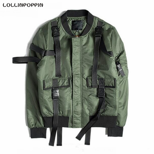 Men Army Green Aviator Jacket With Buckle Straps Embellished New 2017 Mens Streetwear Green Bomber Jackets Back Pocket