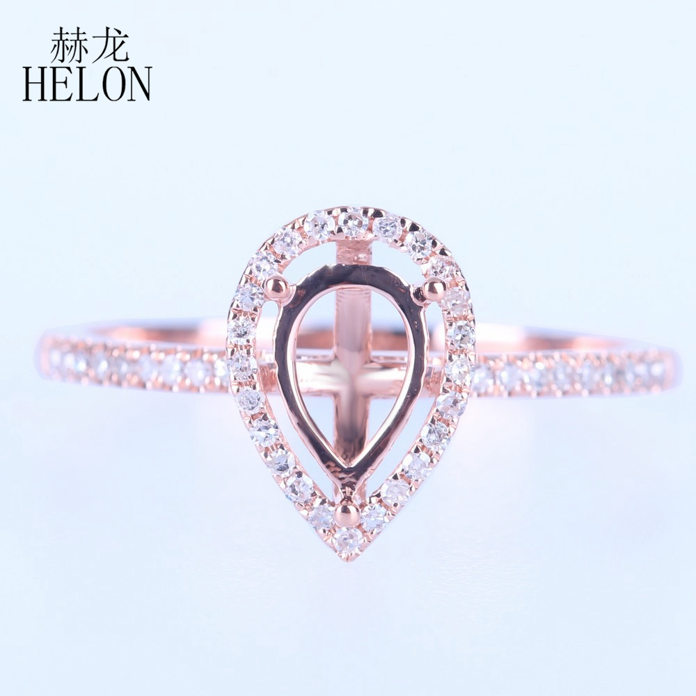 HELON  Solid 14K Rose Gold Lady Pear 7x5mm Semi Mount Ring Real SI/H Diamonds Wedding Ring Engagement Women Trendy Fine JewelryHELON  Solid 14K Rose Gold Lady Pear 7x5mm Semi Mount Ring Real SI/H Diamonds Wedding Ring Engagement Women Trendy Fine Jewelry