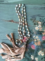 Shabby BoHo Necklace Neutral Sari Silk Tassel Knoting Crystals and Amazonite Beads Necklace N17081616