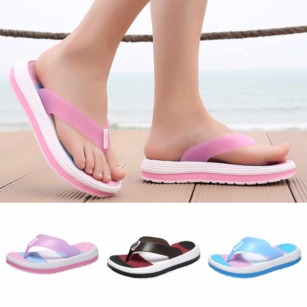 Womens Flat Casual Shoes Flip Flop Rainbow Summer Sliders Slippers Mules Sandals