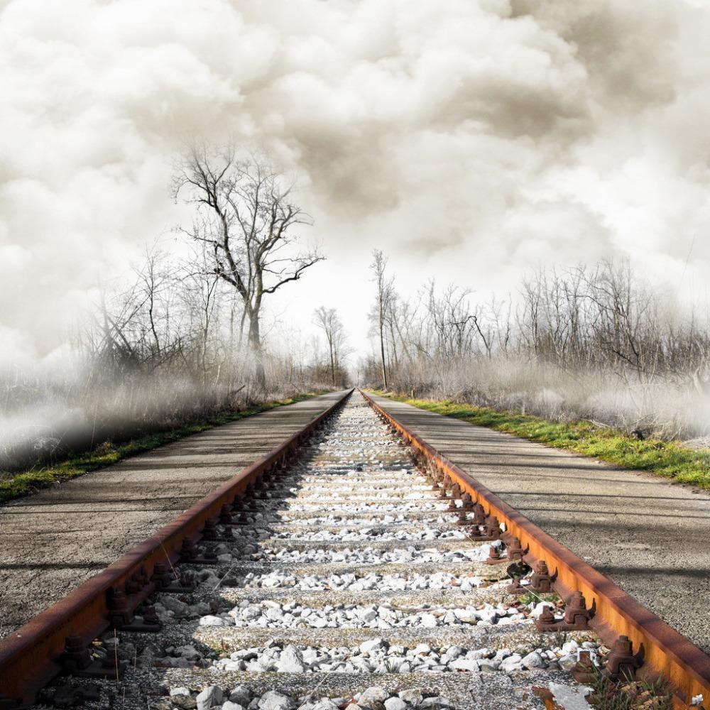 SHENGYONGBAO 3x3m Art Cloth Digital Photography Backdrops Props Photo Studio Background Railway NTG-001