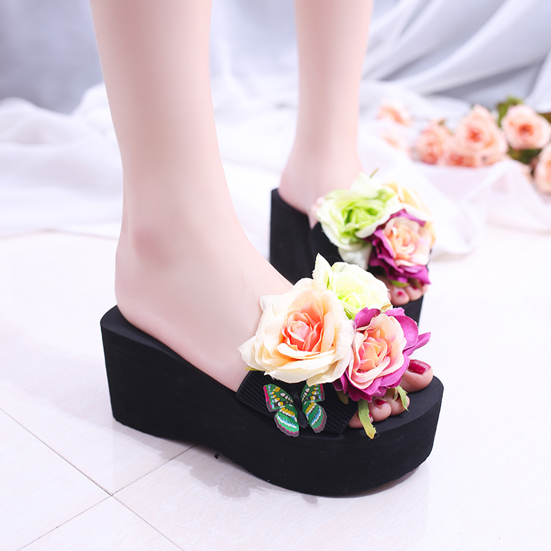 2017 New Floral Flowers Wedges Sandals Summer Platform Women Flip Flops Slip On Creepers Casual Beach Shoes Woman lanshulan wedges gladiator sandals 2017 summer peep toe platform slippers casual glitters shoes woman slip on flats creepers