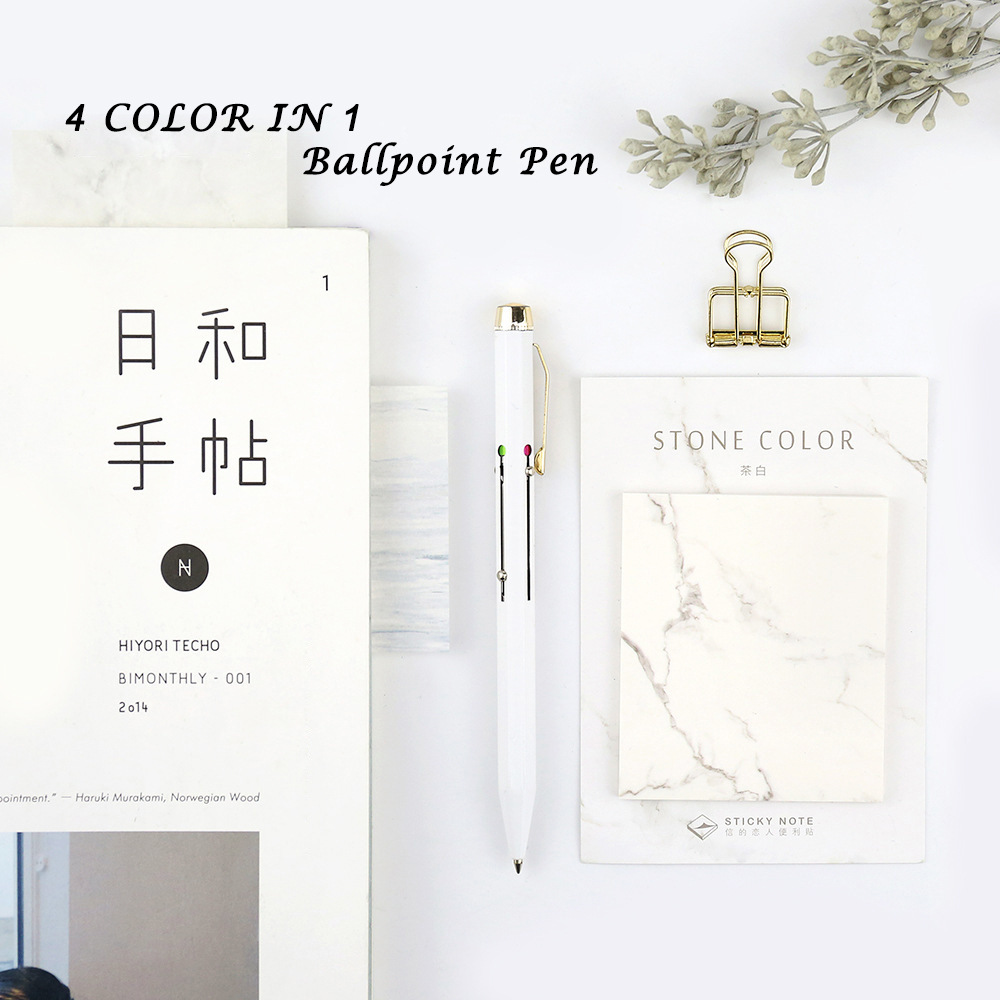 Fashion 4 color in 1 Ballpoint Pens 0.7mm Stainless Steel Ballpoint Pen Metal Pen Office and School Cute Stationery  2017 keyring telescoping hot outdoor thick mini retractable pen stainless steel metal ballpoint pen portable note keychain