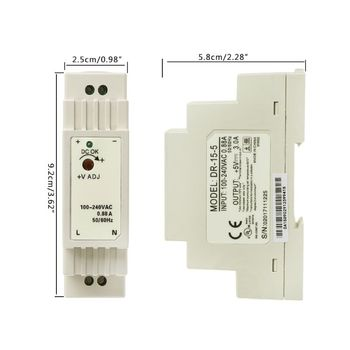 цена на 5V 12V 15V 24V DR-15W Industrial DIN Rail Switching Power Supply New