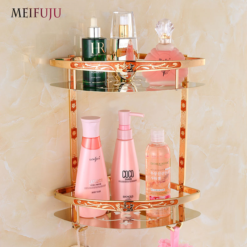 MEIFUJU Stainless Steel Wall Mounted 2-Tier Corner Shelf Shower Storage Towel Bar basket shelves with Hook for Bathroom Kitchen bathroom accessory wall mounted 2 tier triangular shower caddy shelf bathroom corner rack storage basket hanger wba076
