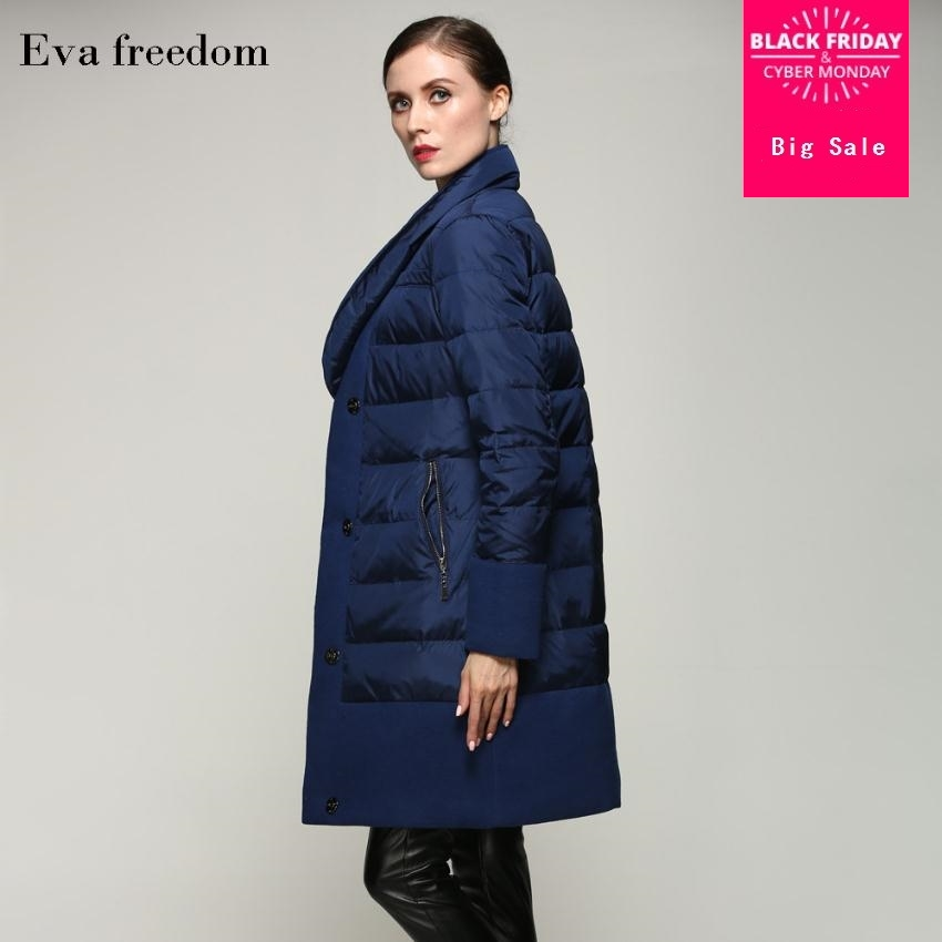 2019 Winter woolen stitching fabric plus size thicker duck   down     coat   female single breasted winter warm long   coat   w1105 dropship