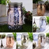 10 LED Creative Jar Lamp Led Courtyard Solar Powered 3 Light Color Firefly Lights Garden Home
