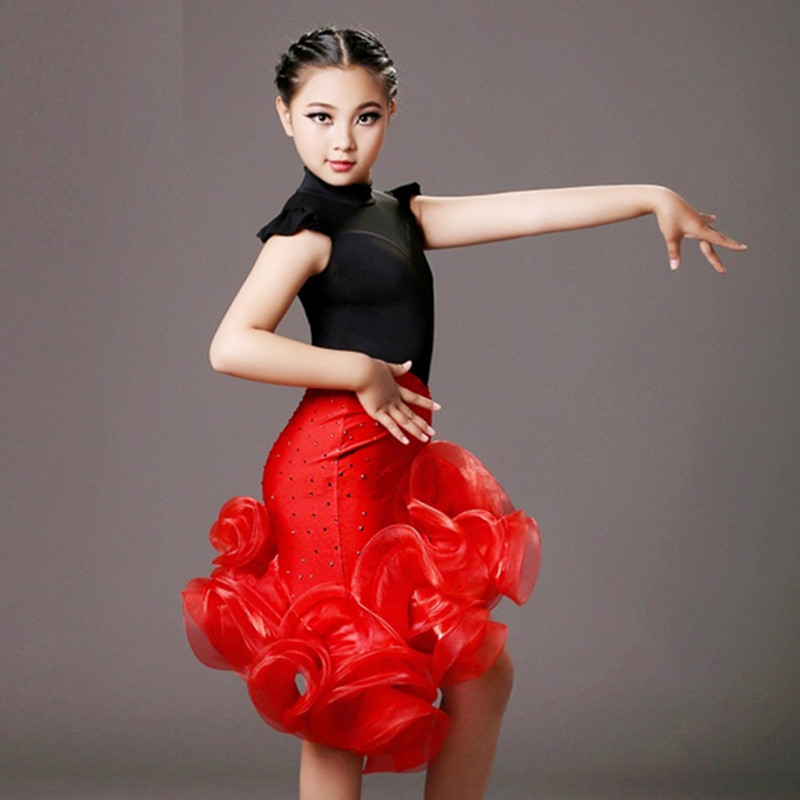 Show details for Sequins Latin Girl Black And Red Children Dance Costumes Suit+Skirt Sets For Performance Kids Samba Costumes Salsa Dress Fringe
