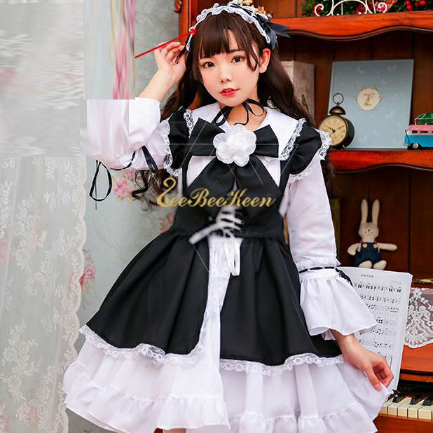 Black Lolita dress Women Lolita Gothic dress Girls Cosplay Costume Adult Party Costume Maid Dress kawaii Lolita Sexy clothes