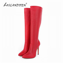 LOSLANDIFEN Womens Boot Platform Matte High Heels Leather Knee Wide Leg Stretch Boots Winter Autumn Shoes US Size 4-11 769-3