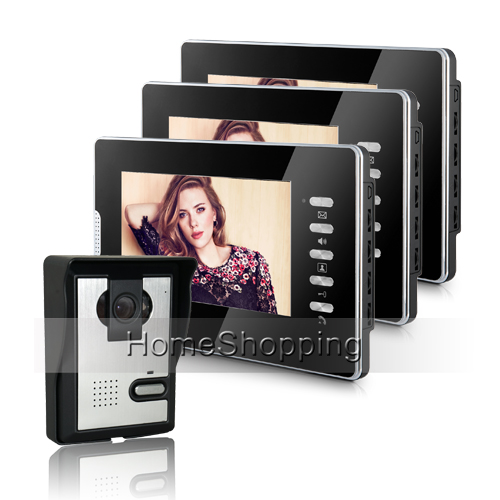 Wholesale New Wired 7 inch Color Screen Video Door Phone intercom System 3 Monitor + IR Door bell Camera Unlock FREE SHIPPING