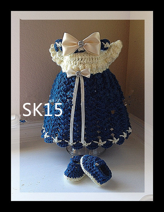 crochet baby dress with ribbon and shoe ready to ship. scarves to crochet